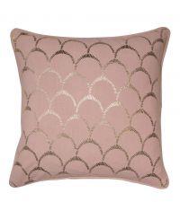 Kissenhülle aus Baumwolle mit gold glänzendem Muschel-Muster, blush