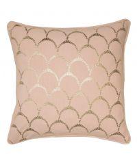 rosa Kissenhülle aus Baumwolle mit gold glänzendem Muschel-Muster