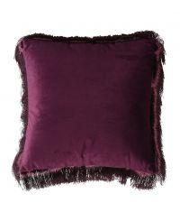 violette Kissenhülle aus Samt mit violetten Fransen an den Rändern