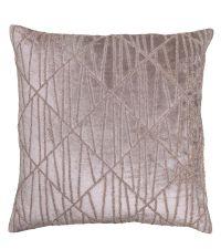 Kissenhülle 'Blush Velvet' mit geometrischem Muster aus schimmernden aufgestickten Perlen