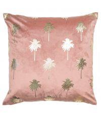 rosa Samt-Kissenhülle bedruckt mit kleinen Palmen aus Goldfolie