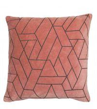 weinrosa Kissenhülle aus Samt bestickt mit braunem, abstrakt-geometrischem Muster