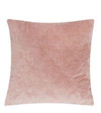 weiche abgesteppte Kissenhülle aus Samt mit geometrischem Trellis-Muster, rosa