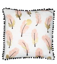 weiße Kissenhülle mit rosa-gold glänzendem Feder-Print und schwarzen Bommeln