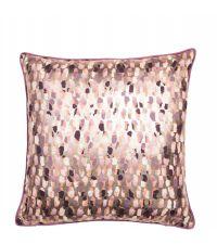 metallic Kissenhülle mit gold reflektierendem Hintergrund & Musterung in Lila- und Pinktönen