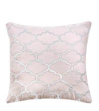 Dekokissen aus Samt mit appliziertem Trellis-Muster , rosa & silber