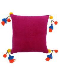 Kissenhülle aus pinkem Samt mit bunten Quasten & Perlen