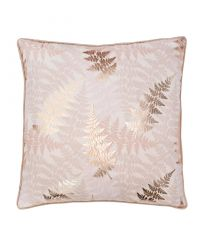 Kissenhülle mit rosa Blattprint & metallischen Effekten