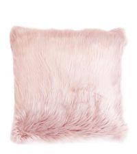 flauschige Kissenhülle aus Schaffell-Imitat, blush