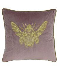Samt-Kissenhülle in lila mit aufgesticktem Bienen-Motiv in gold