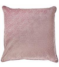 große Kissenhülle aus Samt mit erhabener, geometrischer Musterung, blush