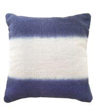 wunderschönes blau-weiß gestreifte Kissenhülle mit Farbverlauf in Leinen-Optik