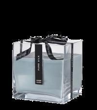 große hellblaue Duftkerze 'Pure Silk' in quadratischem Glas mit Satinschleife