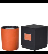 edle Duftkerze mit Kunstlederbezug, orange