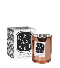 Duftkerze 'Relaxare' in kupferfarbenem Glas