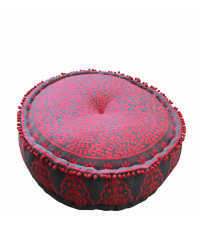 liebevoll bestickter Pouf mit Blumenmuster in feurigem Rot mit grauer Grundfarbe
