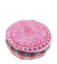 liebevoll bestickter Pouf mit Ethnomuster und Bommeln in Pink
