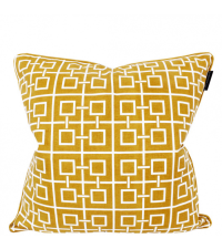 Kissenhülle aus Baumwolle mit geometrischem Quadrat-Muster, senfgelb