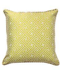 Kissenhülle mit geometrischem Muster in knalligem Gold-Gelb