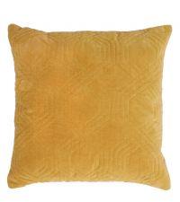 Dekokissen aus Samt mit geometrischem Muster, honiggold