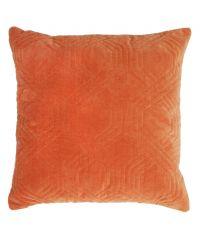 Dekokissen aus Samt mit geometrischem Muster, orange