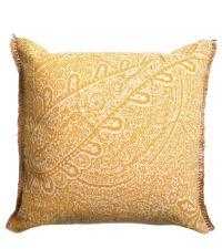 handgefertigtes Baumwoll-Kissen mit orientalischem Muster, honiggold