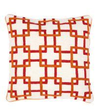 handbesticktes Kissen mit orange-rotem Muster von Eichholtz