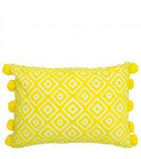 rechteckiges Kissen mit quadratischem Muster und Bommeln, gelb