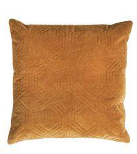 Dekokissen mit Samtbezug und geometrischem Muster, antik gold