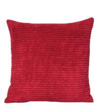 Cord-Kissenhülle aus weichem Stoff mit Streifen, rot
