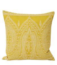 gelbe Kissenhülle mit weißer orientalischer Musterung