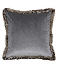 weiche Kissenhülle aus grauem Samt mit flauschiger Einfassung aus Kunstfell