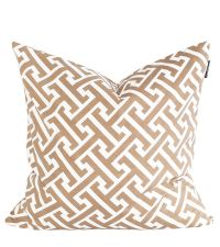 Kissenhülle aus Baumwolle mit geometrischem Muster, taupe & weiß