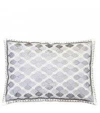 besticktes Dekokissen im Ethno-Style, silber metallic
