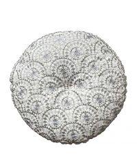 rundes besticktes Dekokissen im Ethno-Style, silber metallic