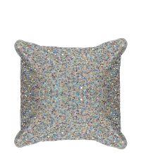 Kleines Kissen mit bunten Perlen und Pailletten, taupe