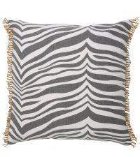 Kissen aus Baumwolle im Zebra-Look mit Randverzierungen, grau