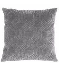 Dekokissen mit Samtbezug und geometrischem Muster, grau