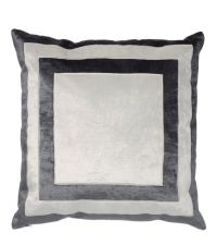 handgefertigter Kissenbezug aus Samt, grau und weiß