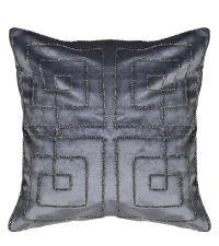 Kissenhülle aus Samt mit schimmernder Perlen-Stickerei in geometrischer Anordnung, silber