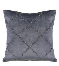 Kissenhülle aus Samt mit schimmernder Perlen-Stickerei mit Trellis-Muster, silber