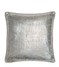 Kissenhülle mit Keder in silber schimmerndem Muster, Rückseite aus Samt in taupe