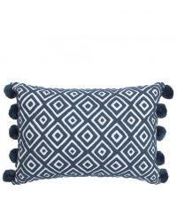 rechteckiges Kissen mit quadratischem Muster und Bommeln, grau