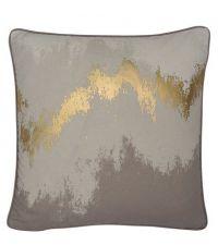 Kissenhülle mit Ombré-Farbverlauf, schimmernden Gold-Elementen und Keder, taupe