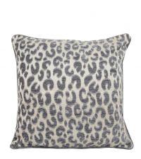 silberne Kissenhülle mit Leoparden-Muster und Keder, klein