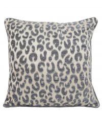 silberne Kissenhülle mit Leoparden-Muster und Keder, groß