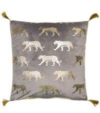 graue Samt-Kissenhülle mit Tiger-Print aus Goldfolie und goldenen Quasten