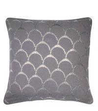 graue Kissenhülle aus Baumwolle mit silber glänzendem Muschel-Muster