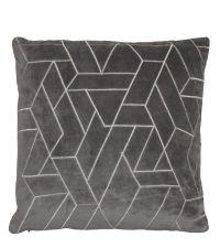graue Kissenhülle aus Samt bestickt mit weißem, abstrakt-geometrischem Muster