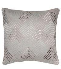 graue Kissenhülle aus Baumwolle mit silbern schimmernder, geometrischer Stickerei